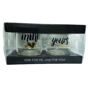🆕❤Mine Yours Stemless Wine Glass Set